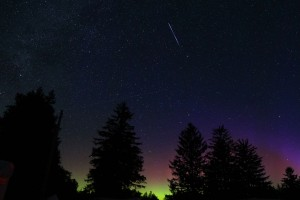 The meteors joined the aurora!